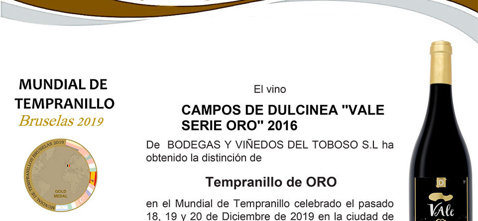 VALE Serie Oro medalla de oro en concurso internacional mundialde tempranillos